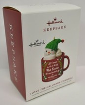 Hallmark Christmas Ornament 2019 Year Dated I Love Channel Snowman in Mug - $44.09