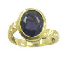 splendid Amethyst CZ Gold Plated Purple Ring genuine Designer US gift - $17.99