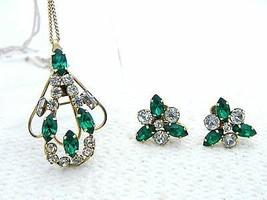 VTG STAR ART 1/20 12kt Gold Filled Green Clear Rhinestone Necklace Earri... - $49.50