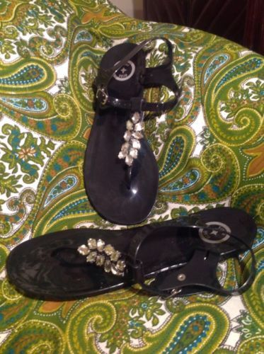 2037bcf16 12. 12. Previous. BCBG PARIS BELMA 10M WOMEN S BLACK PLASTIC THONG SANDALS W  JEWELED TOE STRAP