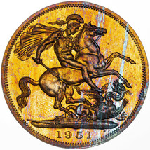 1951 UNITED KINGDOM 5 SHILLINGS FESTIVAL OF BRITAIN COLOR TONED LUSTER G... - $197.99