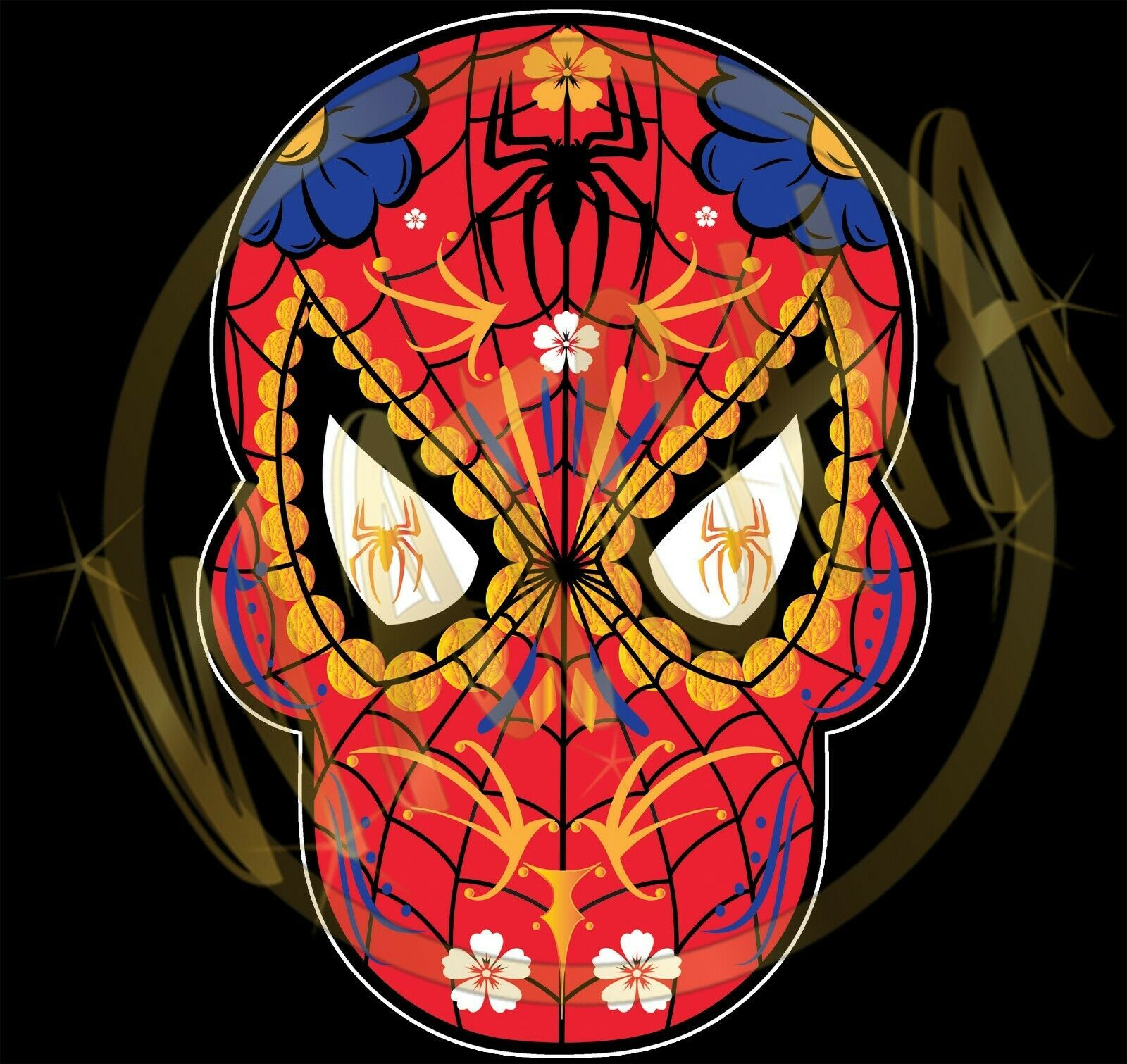 Primary image for Spider Man Dia De Los Muertos Sugar Skull W/Gold Spider Image Men's T-Shirts