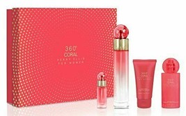 360 Coral 4 Piece Gift Set with 3.4 Oz by Perry Ellis NEW For Women - $44.99