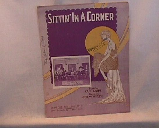 Sittin In A Corner Vintage Irving Berlin 1923 Sheet Music