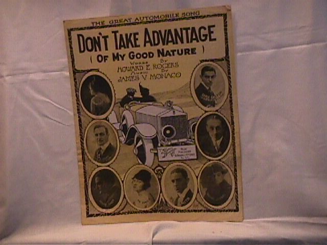 Dont Take Advantage of Me Vintage Sheet Music