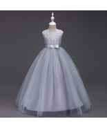 Ruffled Tulle Lace Grey Color Floor Length Party Gown for Girls - $48.99+