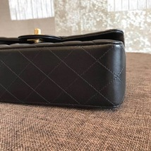 NEW AUTH CHANEL 2019 SMALL Quilted Lambskin Classic Black Double Flap Bag GHW image 5