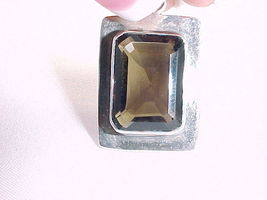 SMOKEY QUARTZ Vintage PENDANT in STERLING Silver - 10 ct and 12.2 grams - $72.00