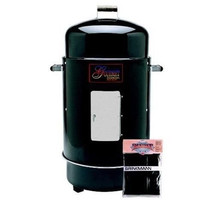 Barbecue Grill Smoker Water Charcoal Food Large Pan Vinyl Cover Thermometer - $146.69