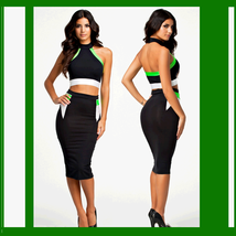 Athletic Stretchy Stripe Backless Halter Style Top and Matching Pencil Skirt