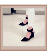 Black Faux PU Leather Ankle Strap Pointed Toe 3 inch Wedge Heel Sandals - $49.95