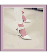 White Faux PU Leather Ankle Strap Pointed Toe 3 inch Wedge Heel Sandals - $49.95
