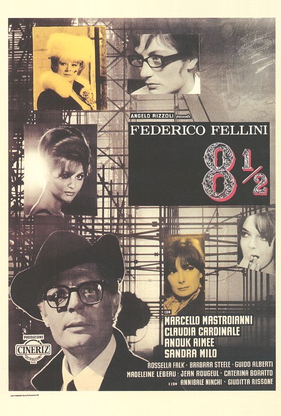 8 1/2 Movie Poster Italian 27x40 Marcello Mastroianni Claudia Cardinale Fellini