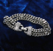 GOLDETTE Chunky Silver-tone Double Chain Link BRACELET 1960s - 7 1/4 inc... - $55.00