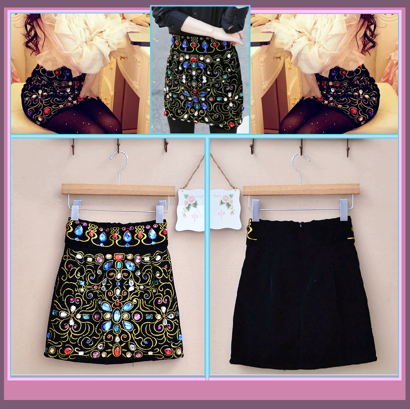 Old World Renaissance Princess Multi Jeweled Black Velvet Mini Skirt