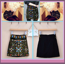 Old World Renaissance Princess Multi Jeweled Black Velvet Mini Skirt    image 1