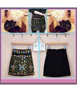 Old World Renaissance Princess Multi Jeweled Black Velvet Mini Skirt    - $68.95