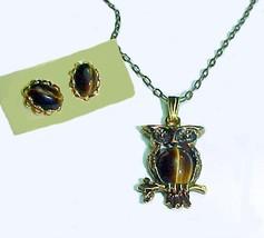 78320a necklace earrings set tiger eye owl cabochans goldtone pierced posts thumb200