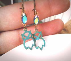 Patina Owl Earrings Rainbow Gem Earrings Owl Charm Earrings Boho Earring... - $46.00