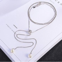 Anenjery Simple Fashion 925 Sterling Silver Necklace Zircon Pearl Sweate... - $15.15