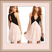 Sleeveless Size S - 2X Layered Chiffon Mini Club Gown Open Keyhole Back ... - $42.95