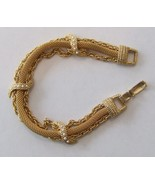 GOLDETTE Chain and Rope Mesh BRACELET with faux Seed PEARLS - 6 3/4 inches - £38.23 GBP
