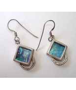 Blue Roman Glass Earrings Sterling Silver Handcrafted Pierced Dangle - $120.00