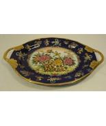Designer 77-58d Vintage Hand Painted Oriental Cobalt Serving Platter Cer... - $65.91