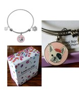 $40 Love This Life Tres Chic French Bulldog Bangle Heart Pawprint Dog Br... - $24.72