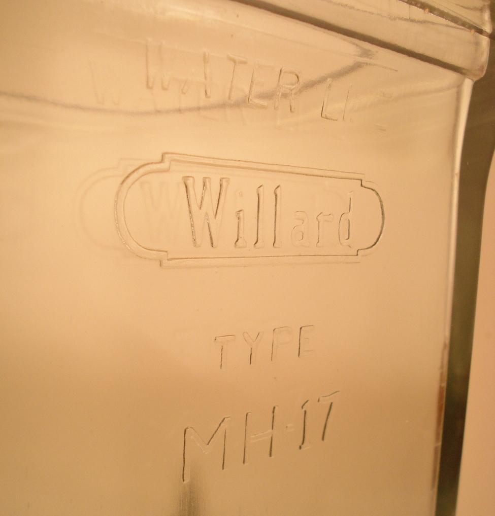 antique glass Willard battery case