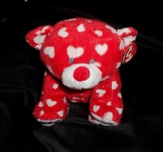 Ty Pluffies Dreamly Teddy Bear Stuffed Animal Plush Red White Hearts Love W/ Tag - $14.03