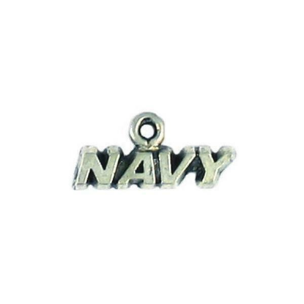 NAVY WORD FINE PEWTER CAST CHARM - 2x8x19mm