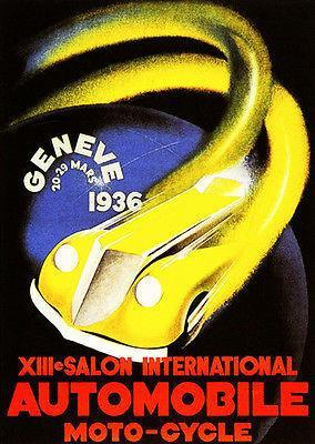 Primary image for 1936 Salon International Automobile - Promotional Advertising Poster