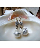 14k Pearl and Swarovski Crystal Drop Dangle Earrings 2.30g - $40.00