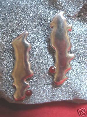 Handcrafted S.S Earrings w/ carnelian-postbacks- NEW