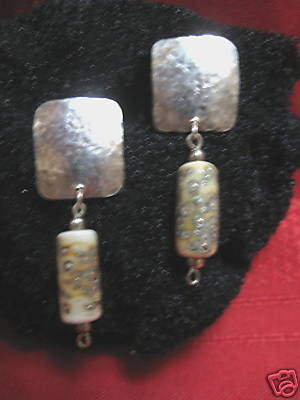 Handcrafted S.S Earrings w/ unique handmade glass beads