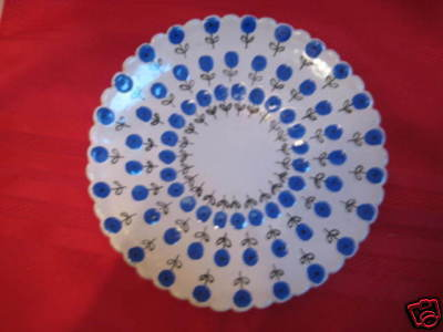 Handpainted Pottery Dish- Blue Posies- signed - France