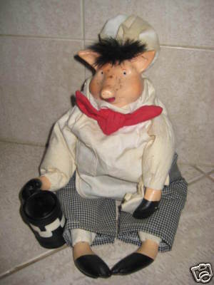 Ceramic Pig Doll - Adorable Primative doll