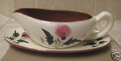STANGL - PINK THISTLE GRAVY BOAT w/ underplate-MINT cond.
