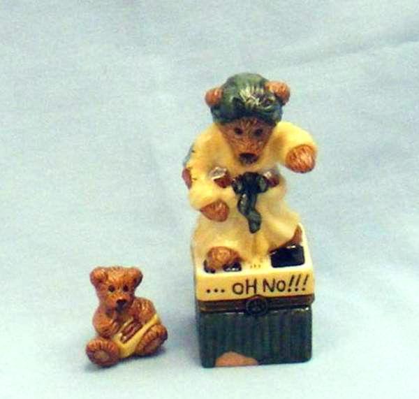 "Boyds Le Bearmoge Porcelain Box ""Ms. Griz.. Saturday Night"" #392010- 2E-NIB-1998 - $14.99"
