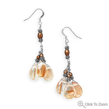 Handcrafted Sunstone Cluster Drop French Wire E... - $61.98