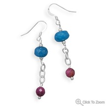 Handcrafted Blue Quartz and Ruby Drop Earrings - $36.98