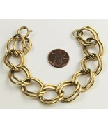 """7"""" VINTAGE FASHION Jewelry DOUBLE CURBED CHAIN GOLD METAL CHAIN LINK BRA... - $10.00"""