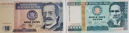 2 Notes from Banco Central De Reserva Del Peru UNC: Mil Intis & Diez Intis - $1.95