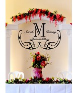 "Elegant Wedding Monogram Custom Wall Vinyl Sticker Decal 22""h X 35""w - $45.00"