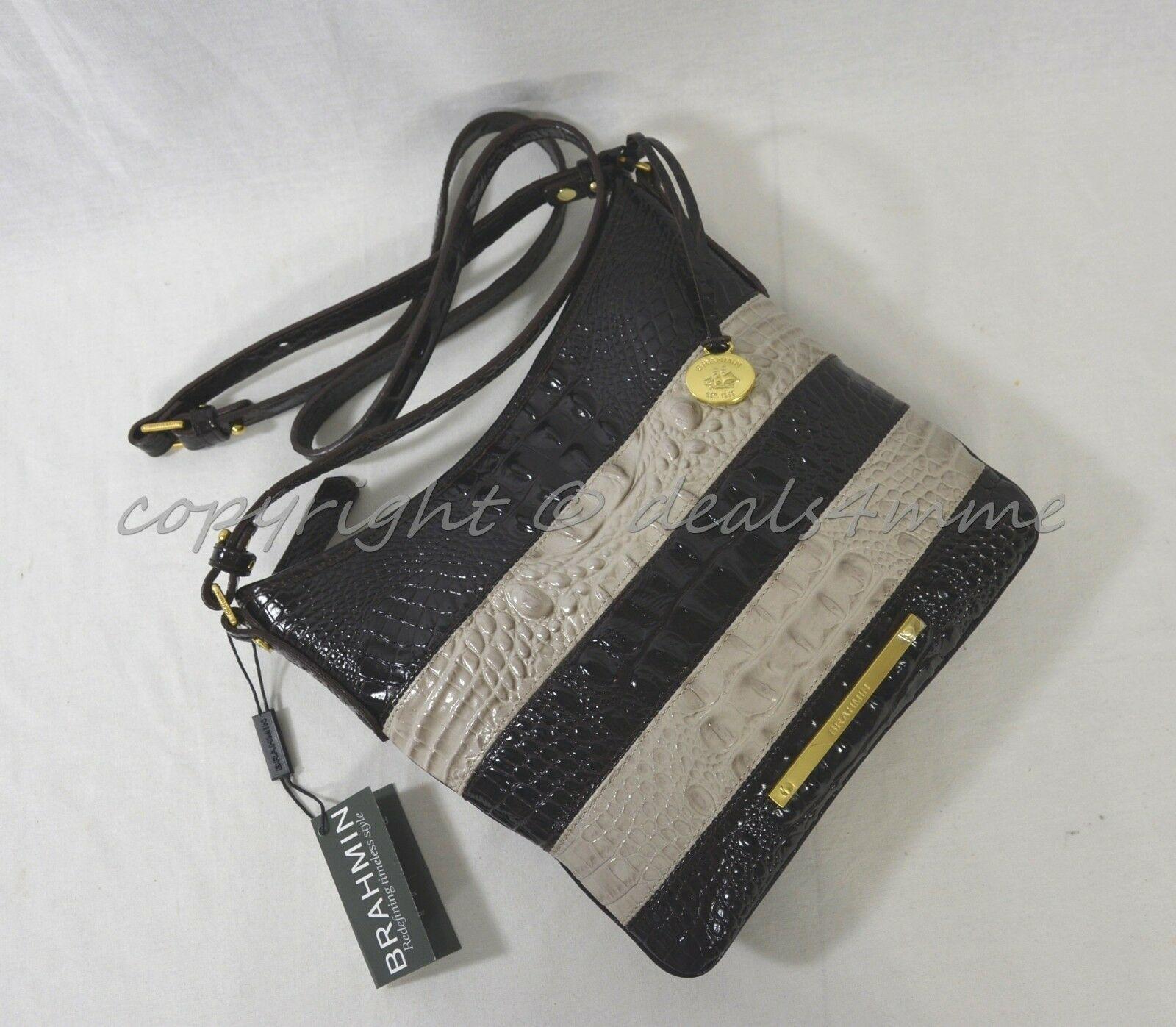 NWT Brahmin Jody Striped Cross-Body/Shoulder Bag in Angora Vineyard image 12