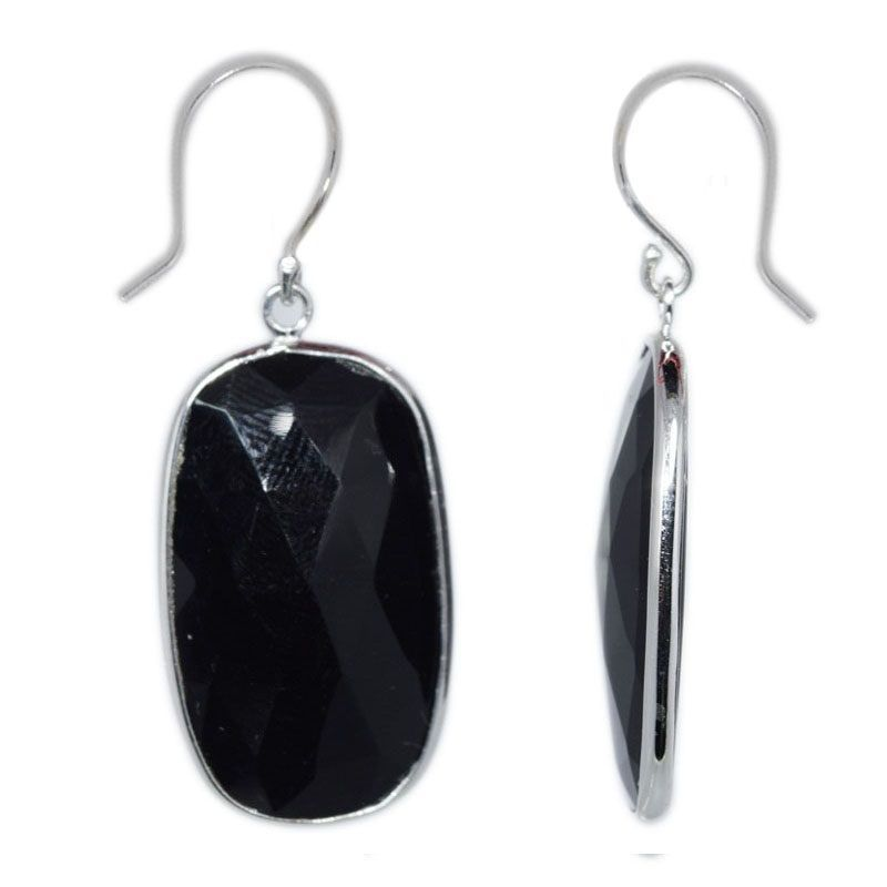 Gorgeous Shiny Dyed Black Onyx Gemstone 925 Sterling Silver Earring SHER0060
