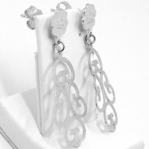 Drop Earrings Silver 925, Satin, Pattern Floral by Maria Ielpo image 2