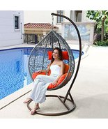 Island Gale Hanging Basket Chair Outdoor Front Porch Furniture with Stan... - $598.98