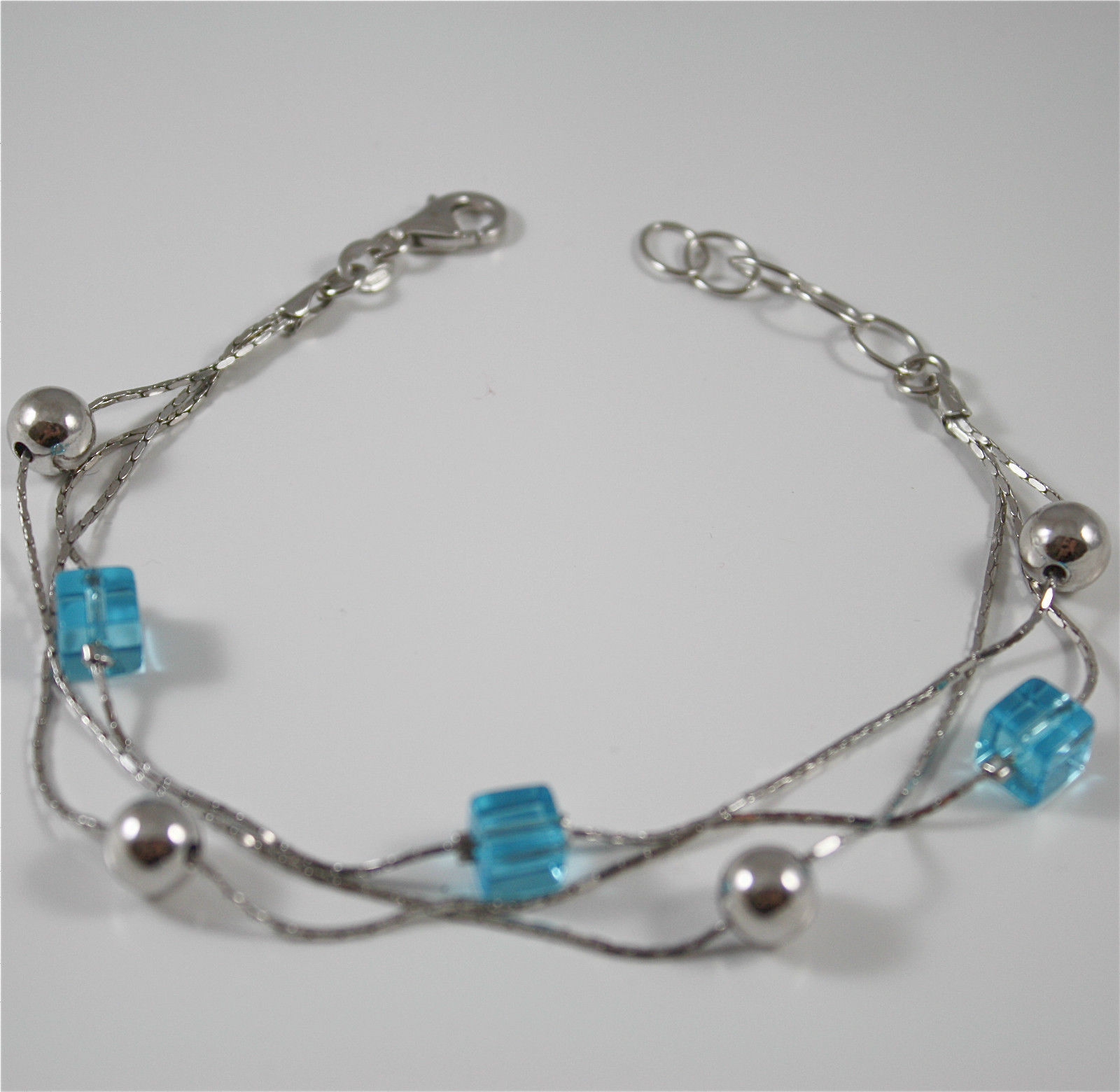 Bracelet in Sterling Silver 925 Rhodium three files with Crystals Blue Square...